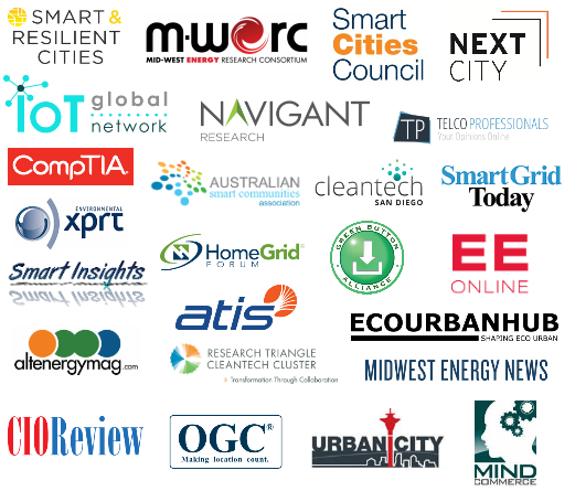 HomeGrid Forum, CIO Review, Urbanicity, Next City, ATIS, CompTA, OGC, Mind Commerce, Navigant Reearch, TelcoProfessionals, EE Online, Cities Today, CleanTech San Diego, Research Triangle Cleantech Cluster, Midwest Energy News